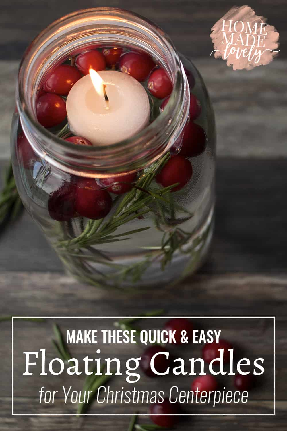 Make these quick and easy floating candles for your Christmas centerpiece this year. With only a few ingredients, they can light up your holiday table with Christmas cheer!