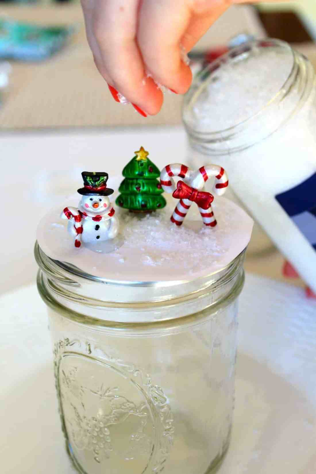 add fake snow to mini ornaments