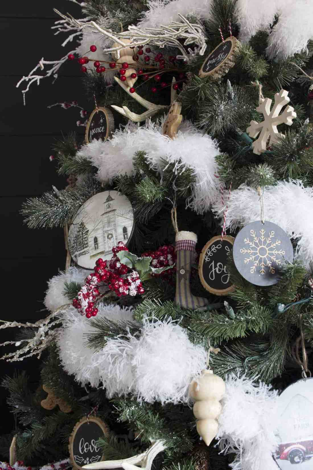 modern farmhouse Christmas tree detail and ornaments