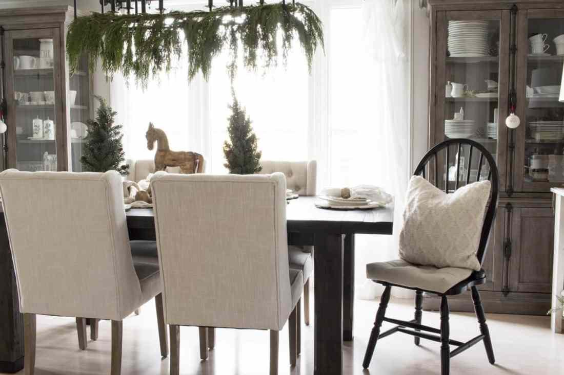 neutral farmhouse style Christmas dining room