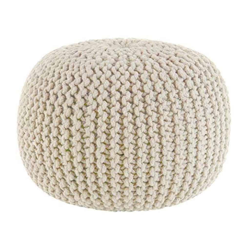 ivory cable stitch pouf ottoman