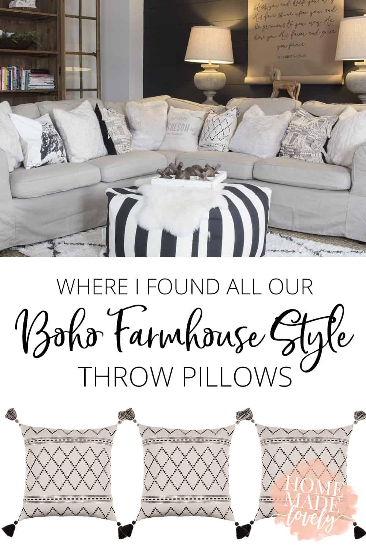 boho farmhouse style throw pillows pin