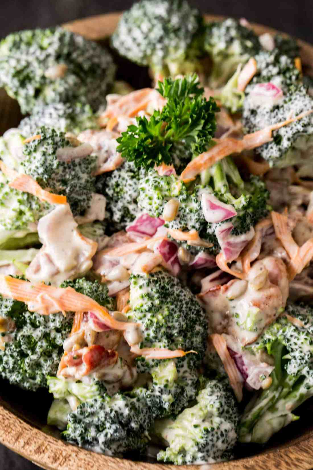 broccoli salad with bacon detail
