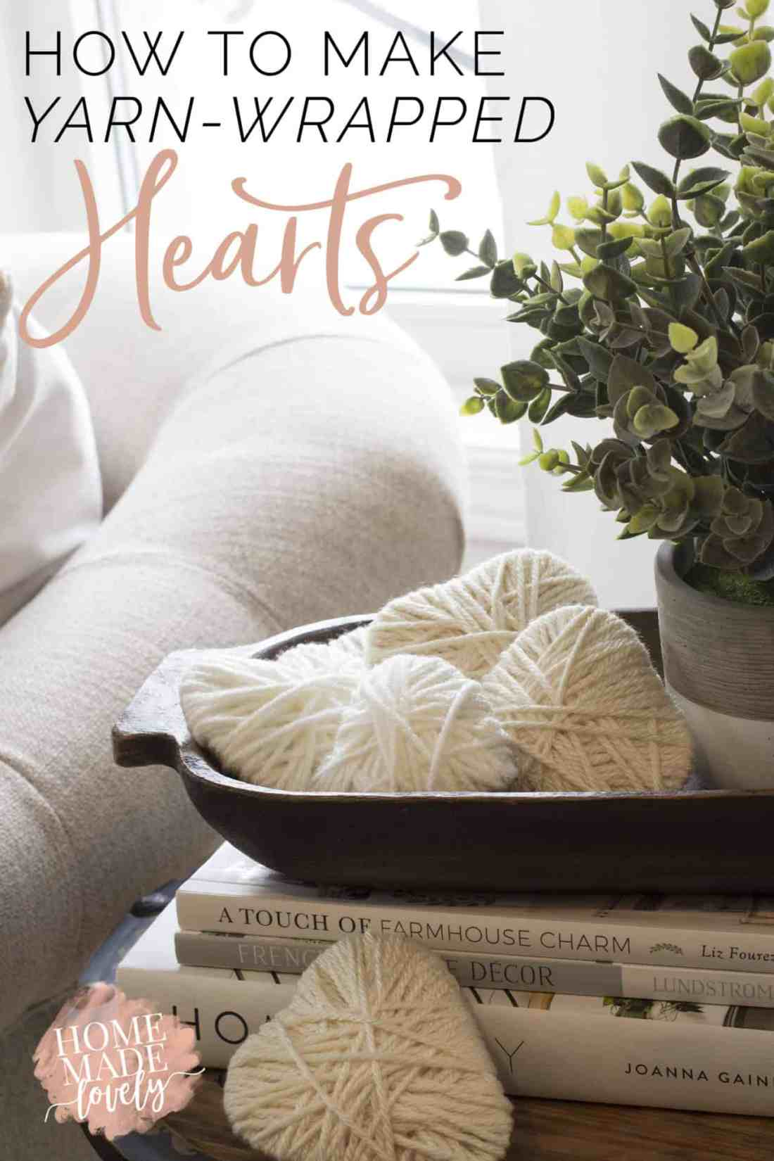 how to make yarn wrapped hearts pin