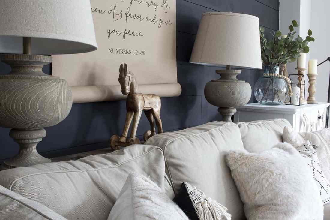 black shiplap wall lamps wood horse