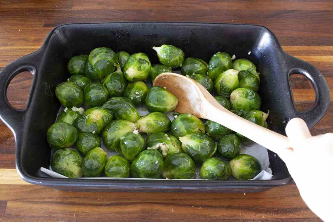 brussel sprouts in baking dish