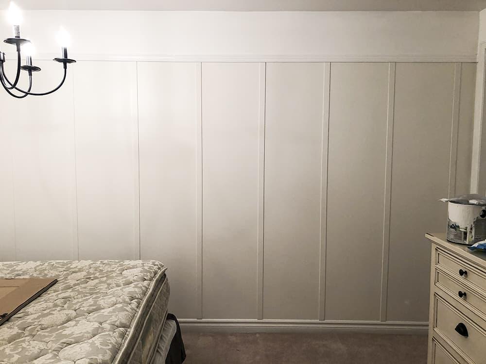 faux board and batten wall