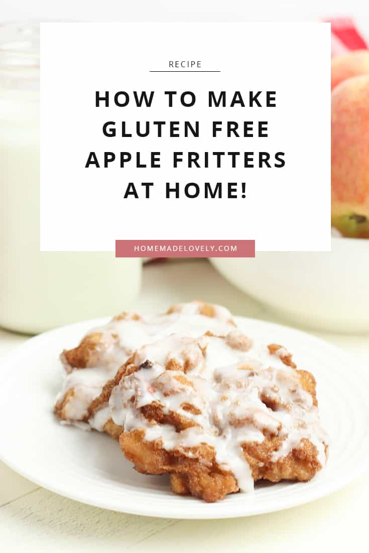 gluten free apple fritter on white plate with bowls in background