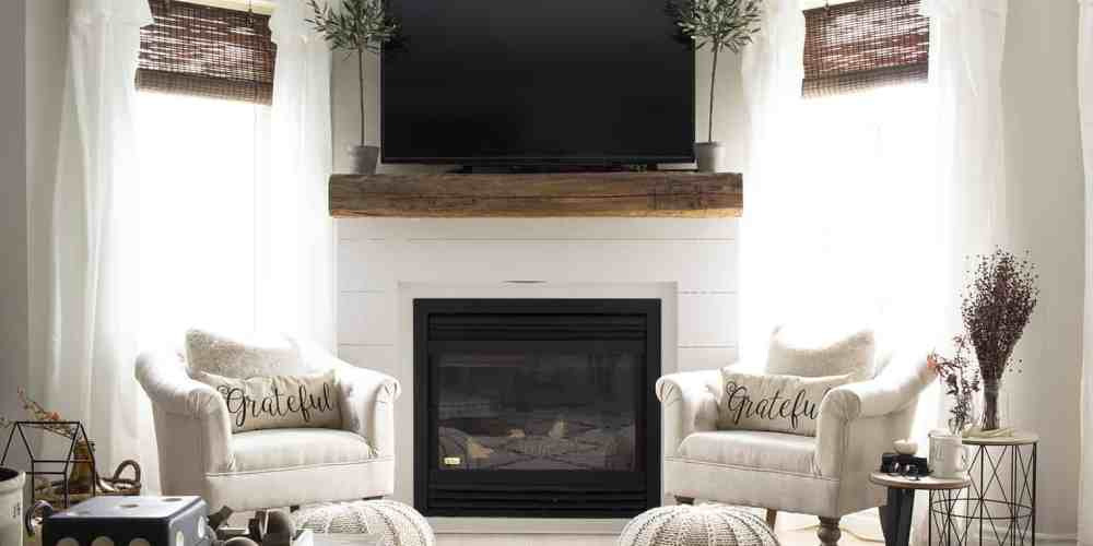 Living Room New Shiplap Fireplace