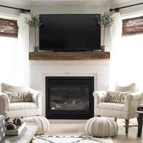 Living Room New Shiplap Fireplace