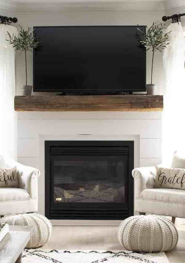 Shiplap and Barn Beam Fireplace Mantel Makeover