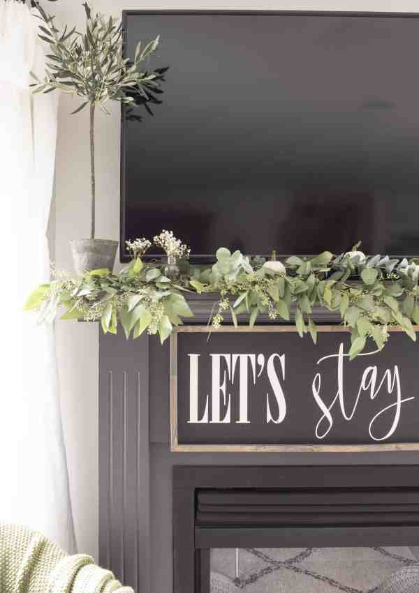 A Very Simple Early Fall Mantel with Seeded Eucalyptus