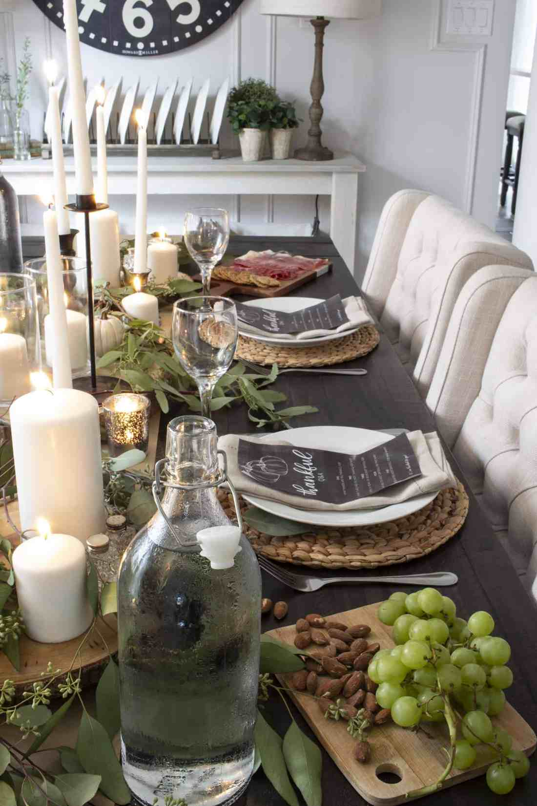 fall table with eucalyptus and candles