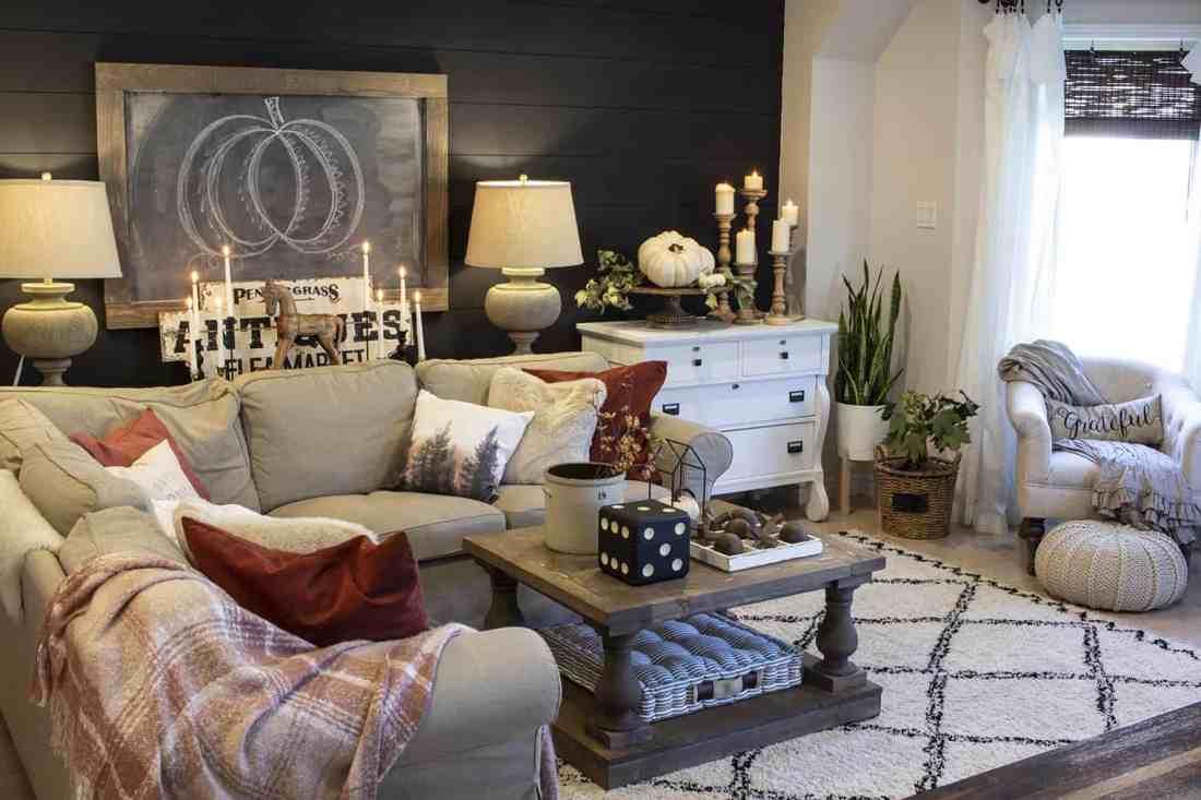farmhouse living room with black shiplap wall