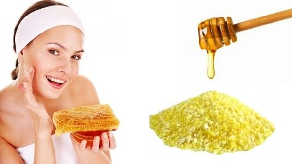 Facial Scrub with corn meal, honey and water