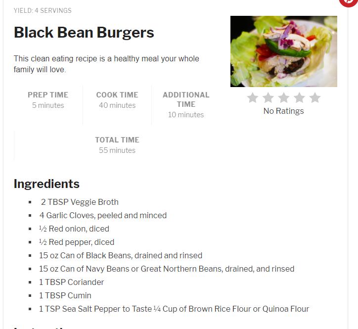 Clean Eating Mama's Black Bean Burgers