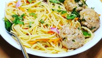 Ginger Pork Meatballs w Veggie Noodles