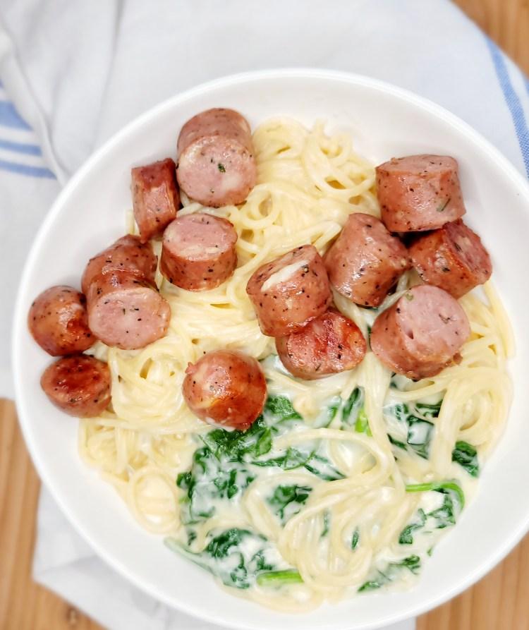 Sausage Spinach Spaghetti