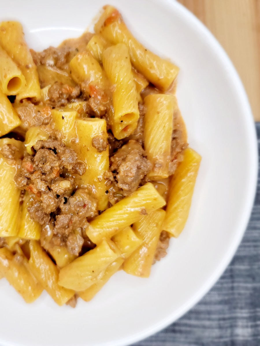 Creamy Cheesy Beefy Pasta by Homemade on a Weeknight - WEEKEND POTLUCK 495