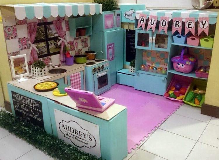 DIY Cardboard Kitchen Cafe Pantry Playset08
