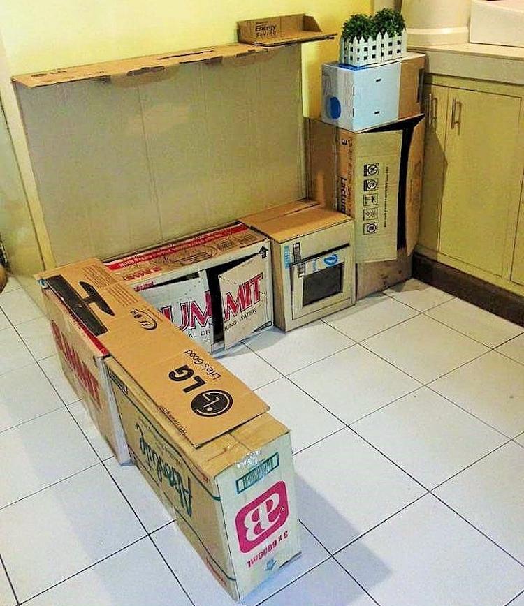 DIY Cardboard Kitchen Cafe Pantry Playset18