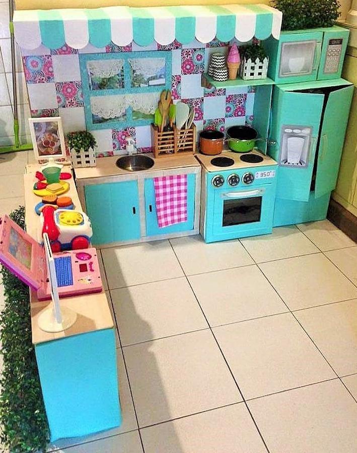 DIY Cardboard Kitchen Cafe Pantry Playset20