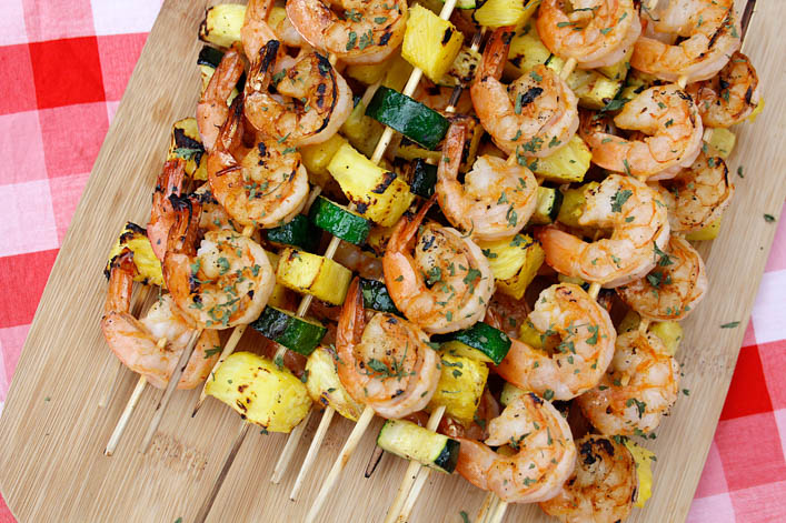 Sriracha Shrimp Skewers with Pineapple