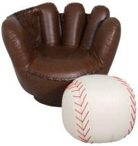 Crown Mark Baseball Glove Chair & Ottoman | Homemakers ...