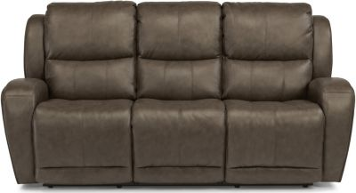 flexsteel double reclining sofa reviews pottery barn bed chaz leather power recline homemakers furniture