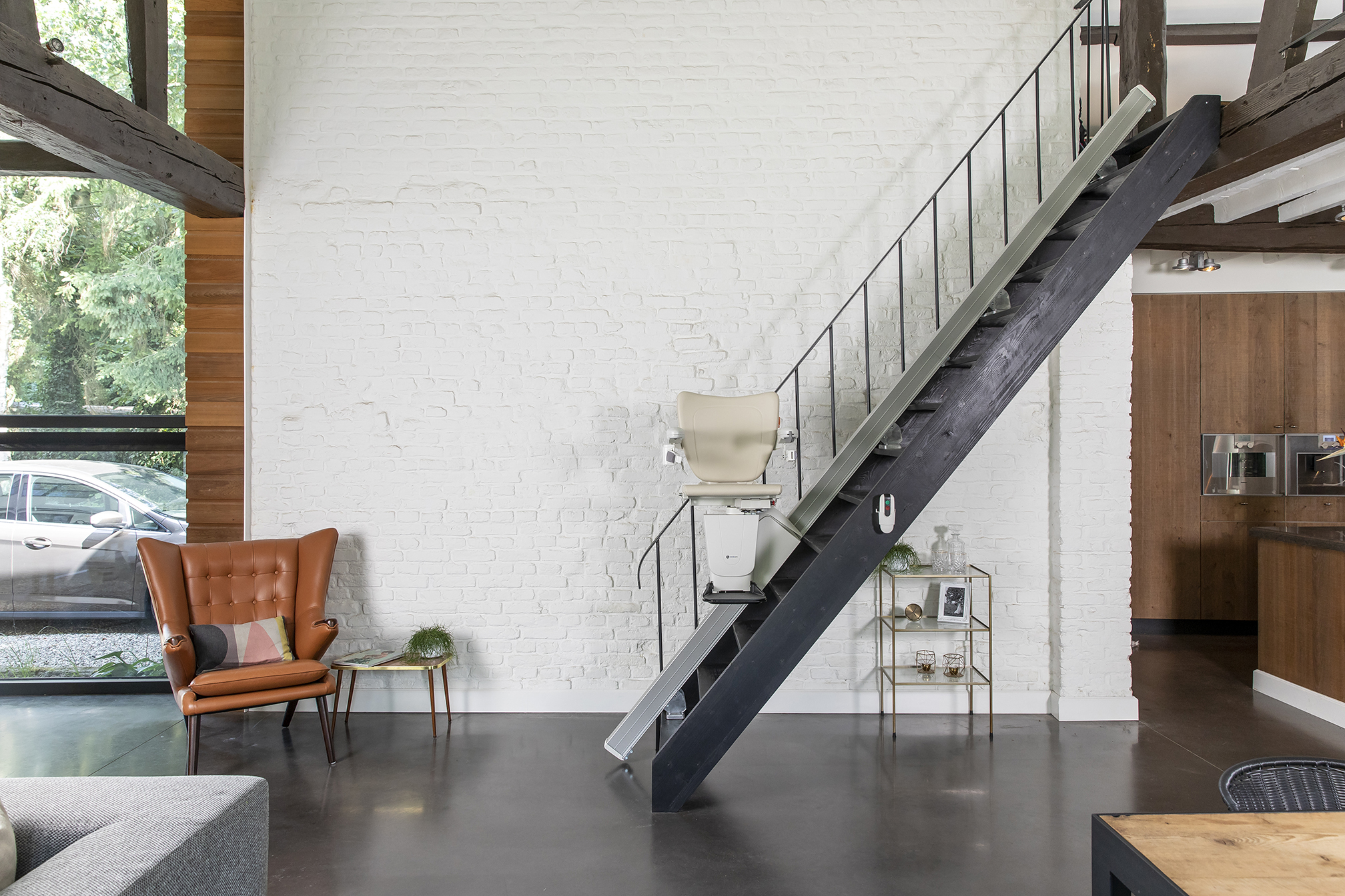 Handicare 1100 straight Stairlift on steel staircase