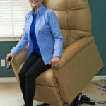 lady in blue jacket, Lift chair