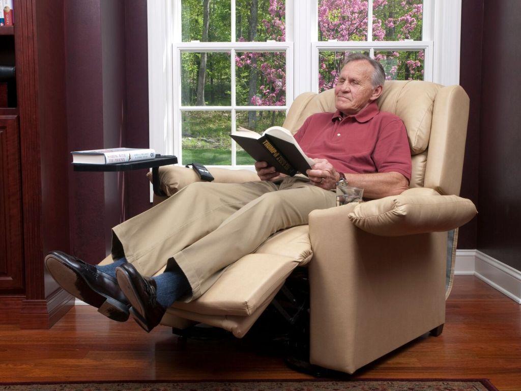 man red shirt reclining-lift chair