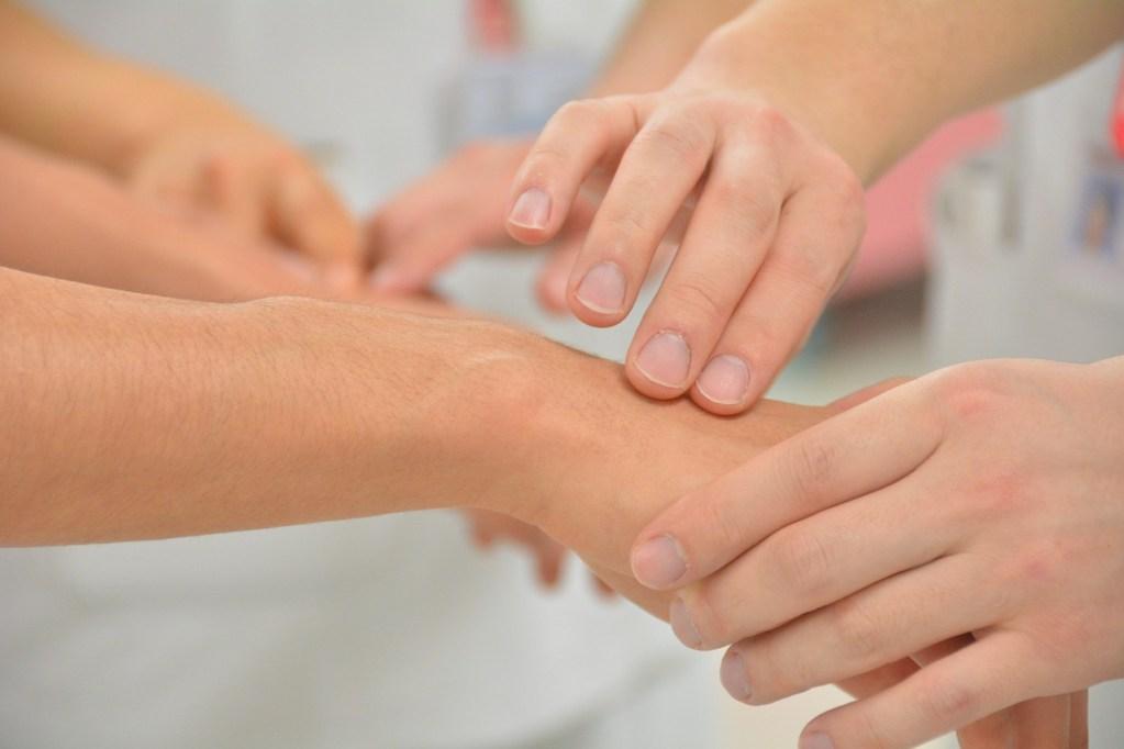 pulse, hand, health care providers