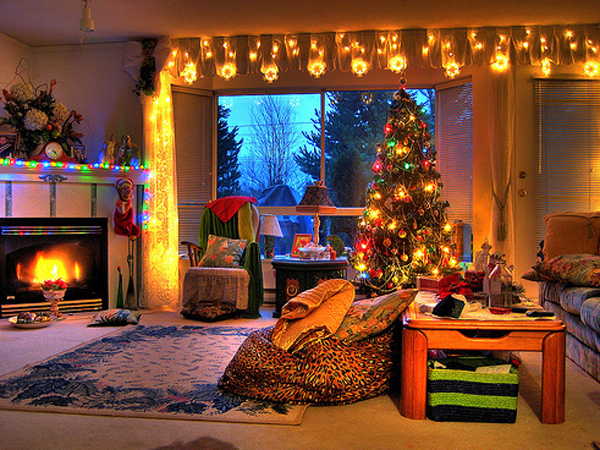 beautiful living rooms at christmas red paint room tree decorations for home design
