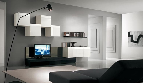 Black And White Tv Stand With Wall System Ideas