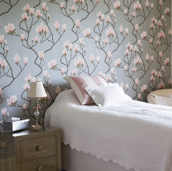 floralbedroomfurniturewithwallpaperideas