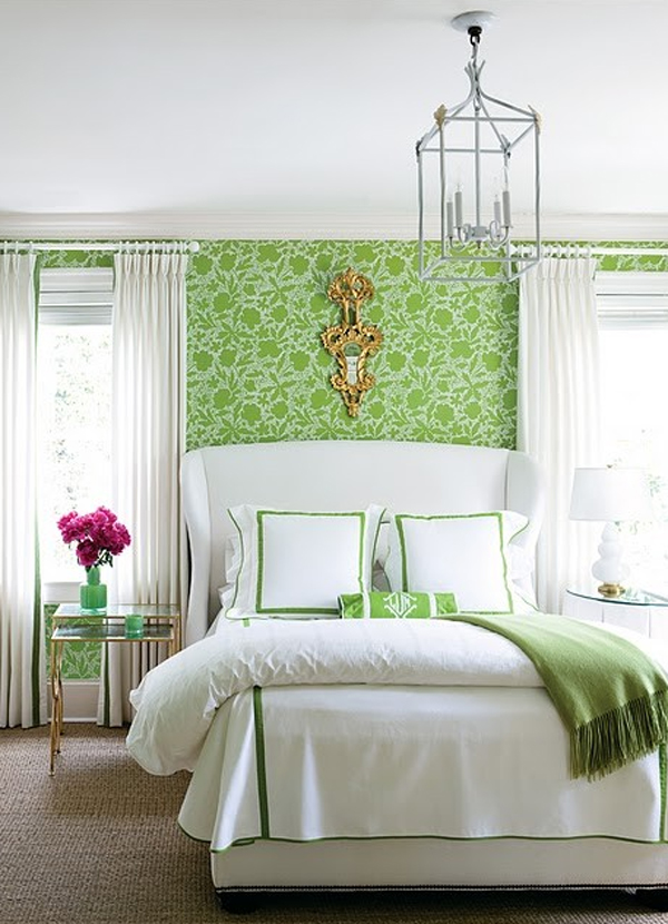 greenfloralbedroomwithwallpapertheme