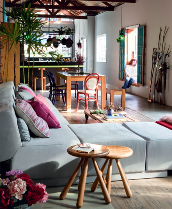wooden sofa living room l shaped furniture cozy and colorful house located in brazilian | home ...