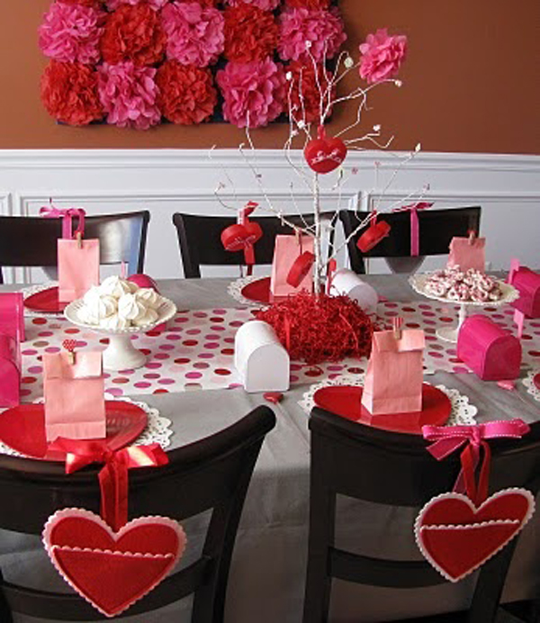 Black And Red Valentine Day Table Settings