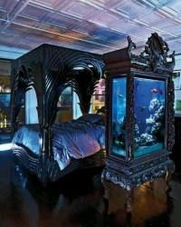 gothic bedrooms bedroom victorian room aquarium interior dark goth thirteen cool decor furniture bed fish medieval romantic interiors aquariums decorating