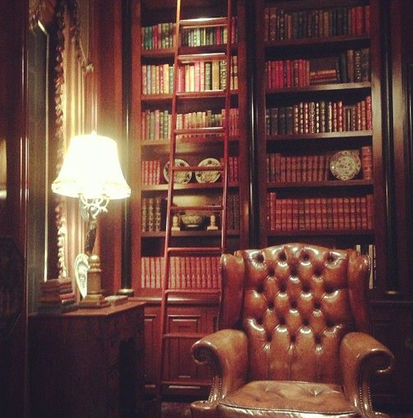 Home Library With Leather Sofa