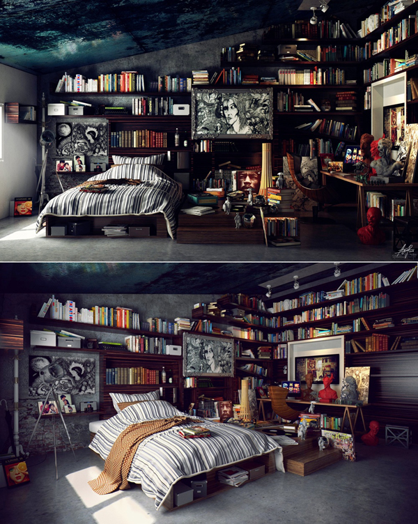 modern-library-bedroom-decor – HomeMydesign