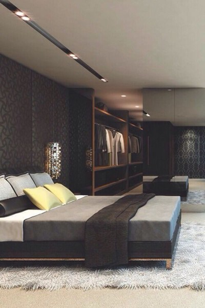 masculine bedrooms black bed 25 Trendy Bachelor Pad Bedroom Ideas | Home Design And Interior