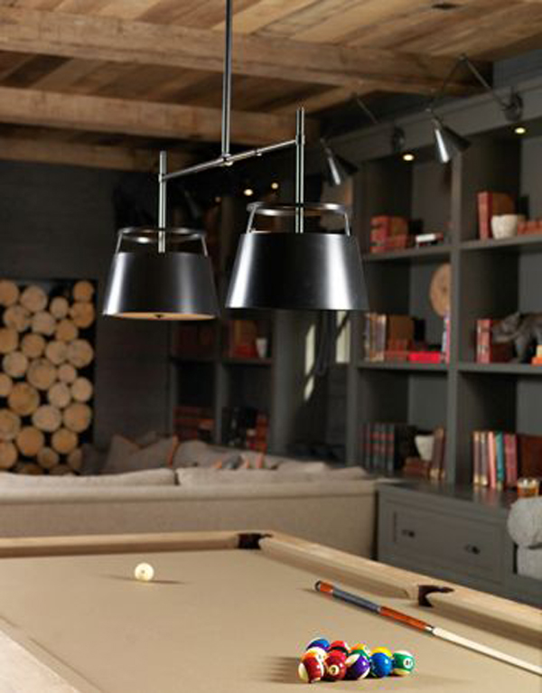 Wood Billiard Table Lighting