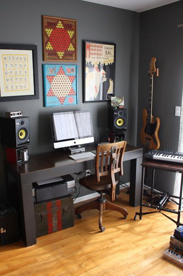 If you are looking for inexpensive bedroom decorating ideas, check out these great pieces for under $100. boys-music-bedroom-office   HomeMydesign