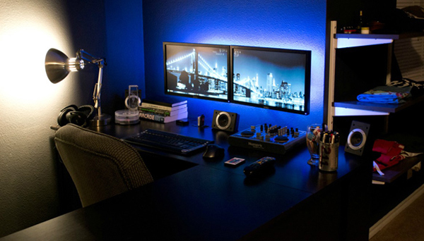 Cool Workspace With Computer Gaming Setup