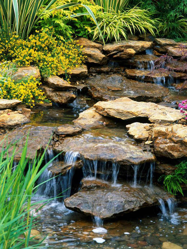 Stone Garden Waterfall Designs Garden Waterfall Ideas On Home