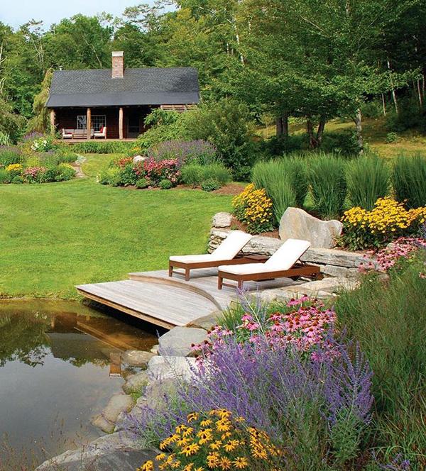 pretty garden pond with deck