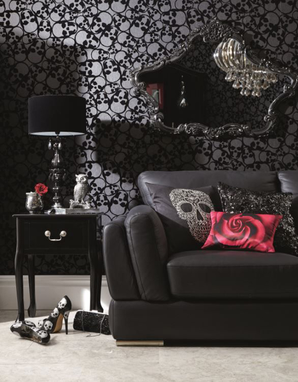 gothic living room modern country beautiful with skull wallpaper home design and
