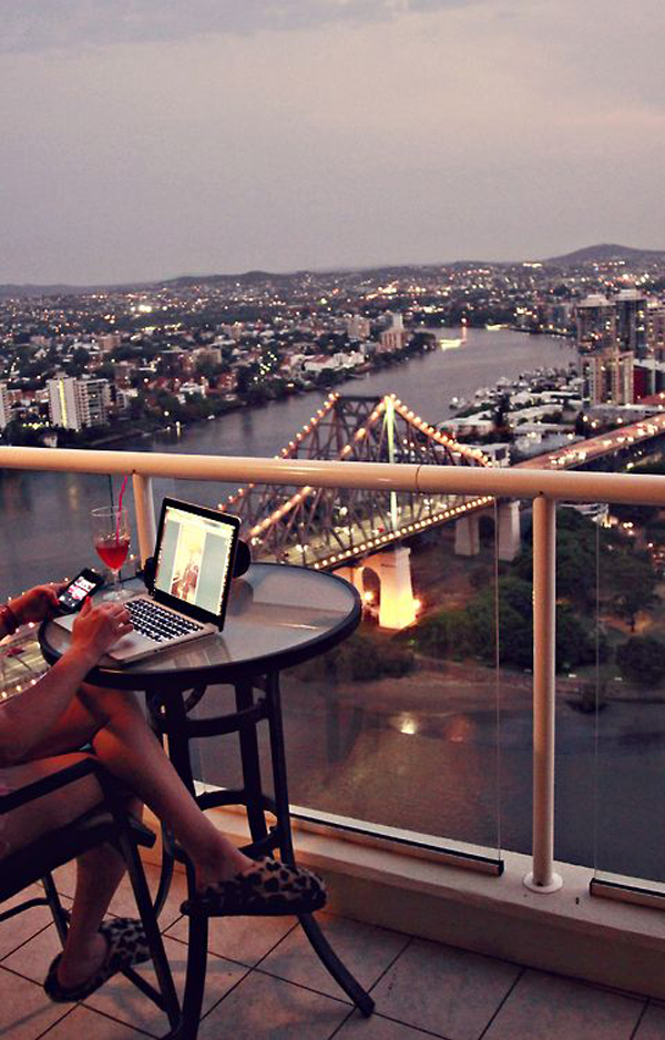 Cool Balcony Workspace With Urban View